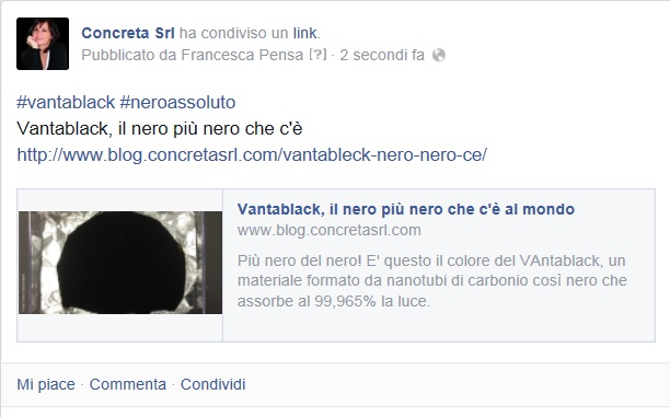 Post in link captation su Facebook