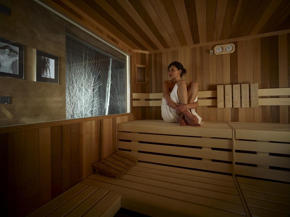 La sauna della Spa dello Chalet Dolce Vita